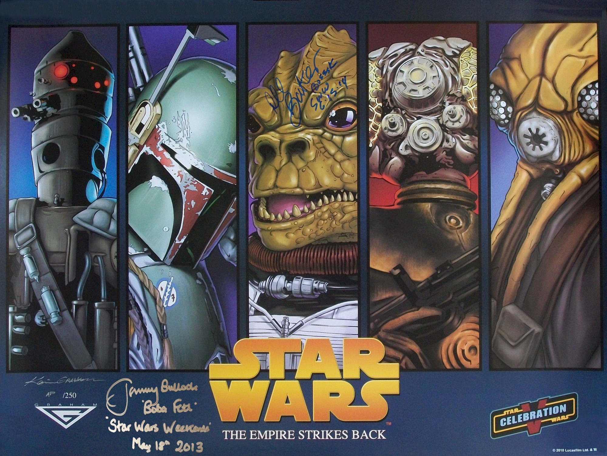 """Triple Autographed by Jeremy Bulloch (Boba Fett), Dee Bradley Baker (Voice of Bossk) and Kevin Graham Artist Proof """"Bounty Hunter"""" Print Event Exclusive Limited Edition from Star Wars Celebration V AP/11 (C5) © Dizdude.com"""
