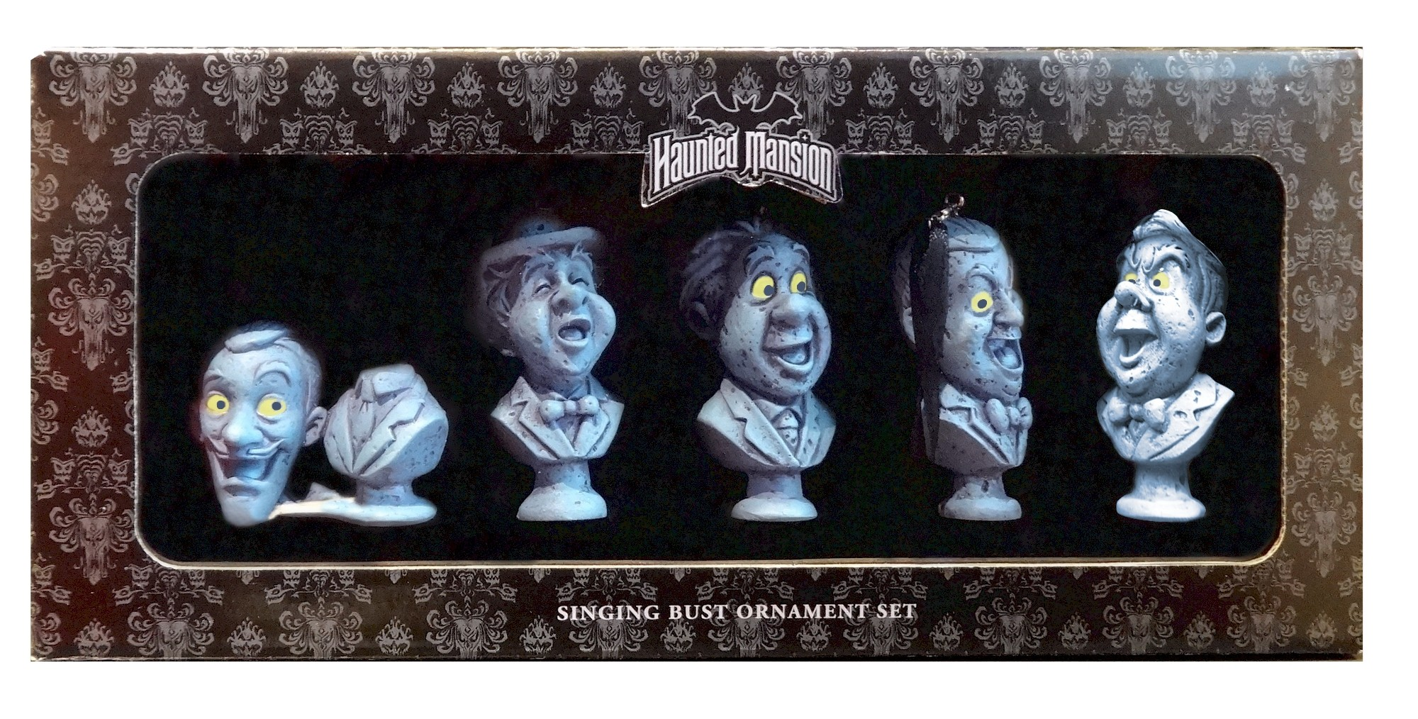 Disney Haunted Mansion Singing Ghosts Busts 5 piece Ornament Set © Dizdude.com