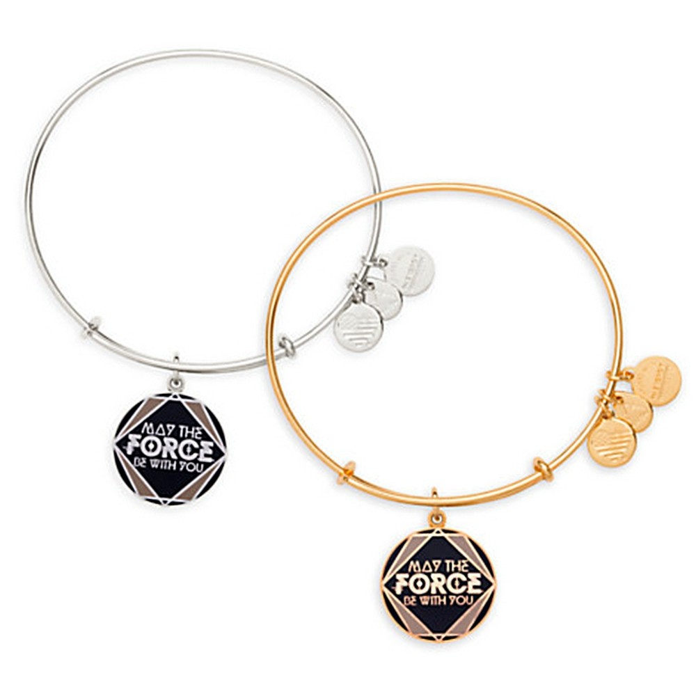 """May The Force Be With You"" Antiqued Rafaelian Gold or Silver Finished Star Wars Adjustable Charm Bangle - by Alex & Ani"