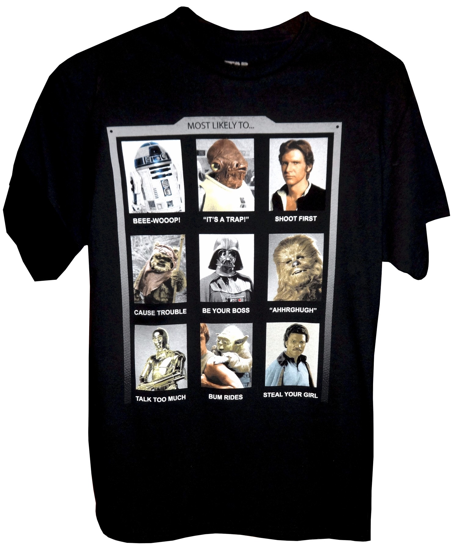 Disney Star Wars Year Book Most Likely To...Adult T-Shirt (Tshirt, T shirt or Tee) © Dizdude.com