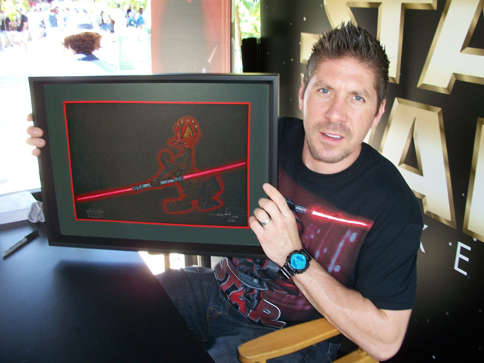 """Ray Park Holding """"Donald as Darth Maul"""" After Autographing the back May 20th 2012 ~ © DIZDUDE.com"""
