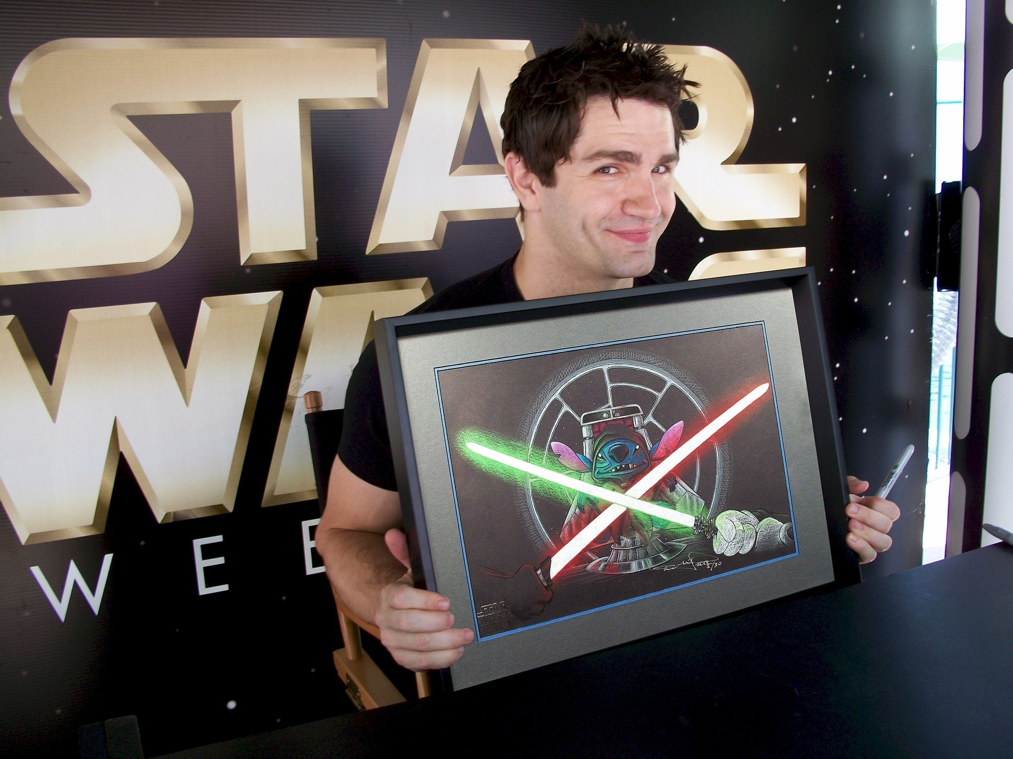 """Sam Witwer after autographing and holding the """"So Be It, Jedi"""" ~ Disney artist Color Illustration ~ © Dizdude.com"""