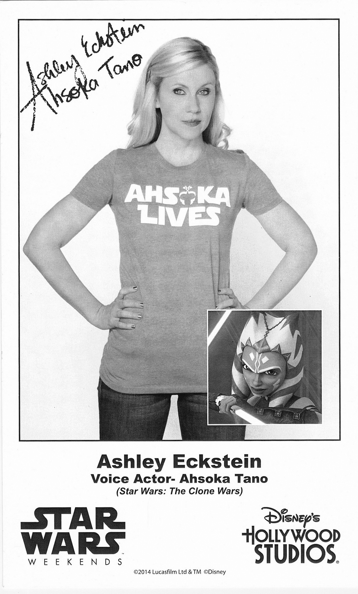 Ashley Eckstein the voice of Ahsoka Tano Presigned Official Star Wars Weekends 2014 Celebrity Collector Photo © Dizdude.com