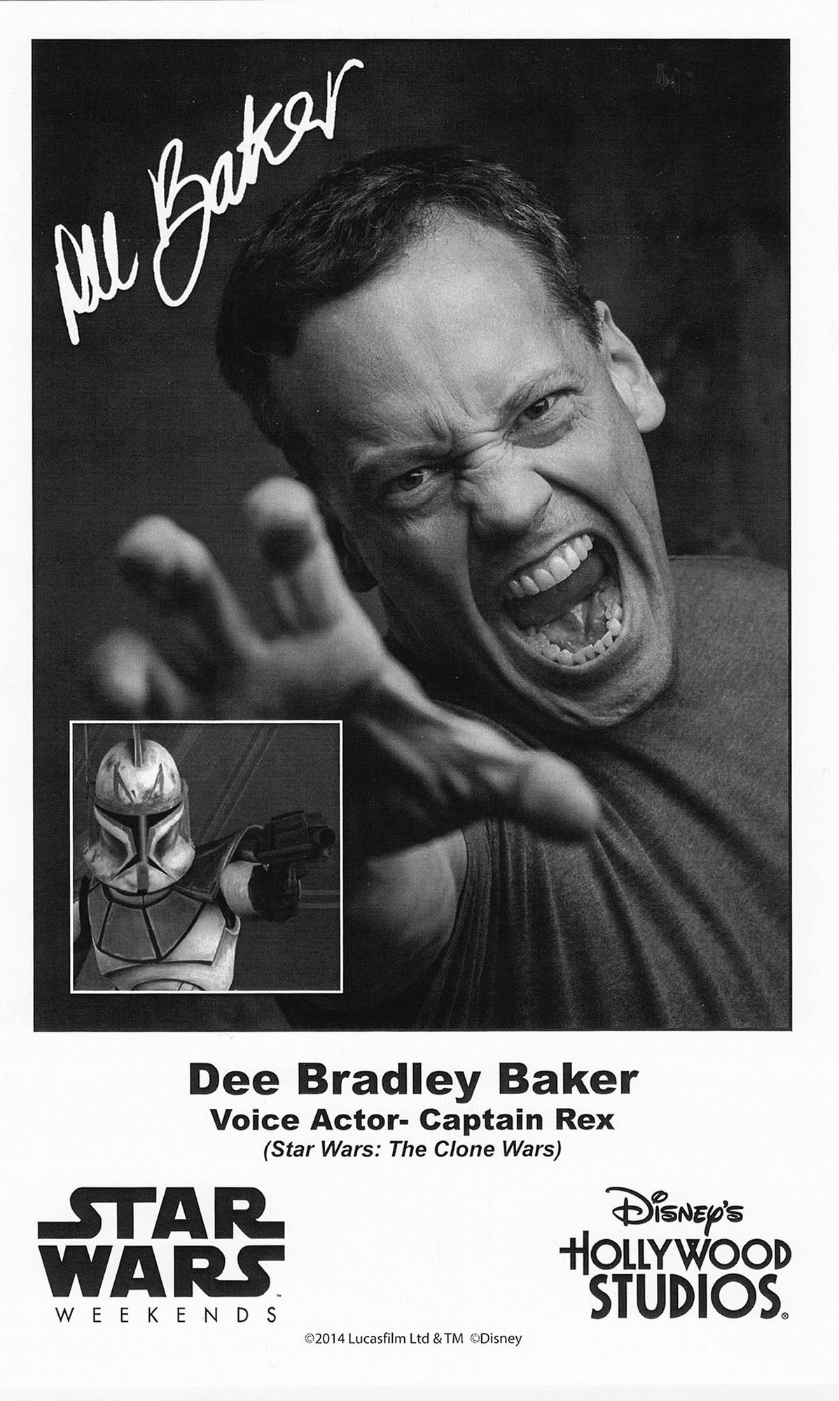 Dee Bradley Baker the voice of Captain Rex Presigned Official Star Wars Weekends 2014 Celebrity Collector Photo © Dizdude.com