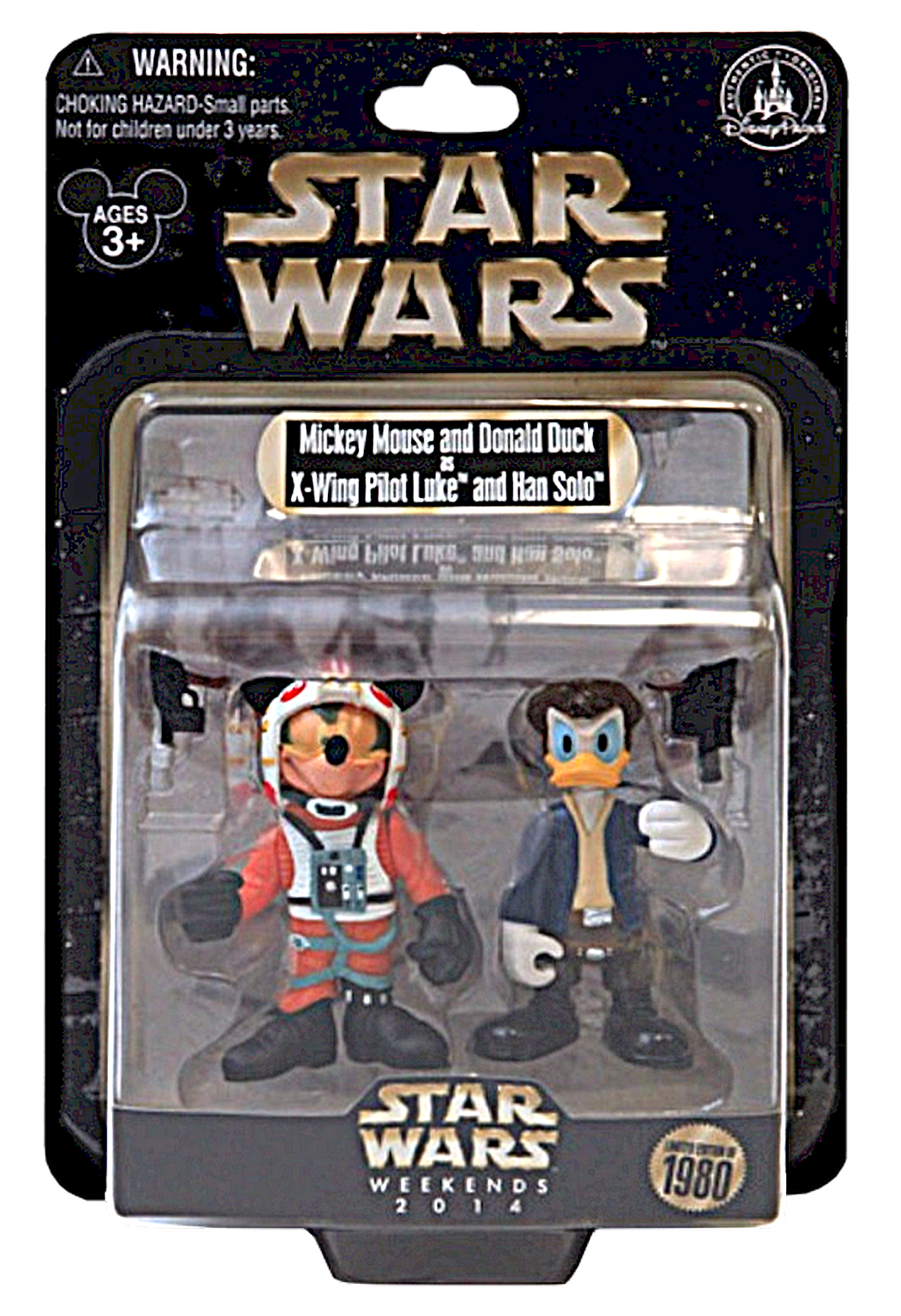 Star Wars X-Wing Pilot Mickey Mouse as Luke Skywalker and Donald Duck as Han Solo Star Tours Action Figure Set Individually Numbered ~ Disney Star Wars Weekends 2014 ~ Limited Edition 1980 ~ © Dizdude.com