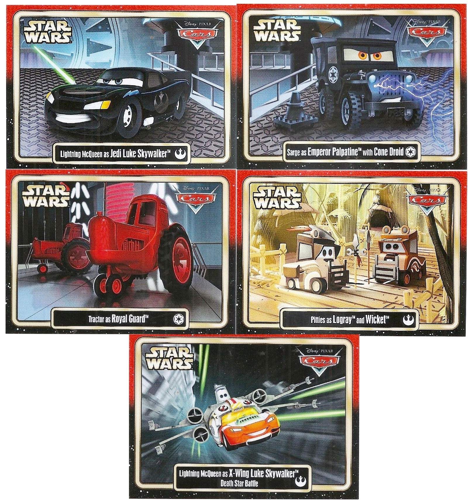 "Complete Set of  Disney Pixar ""Cars"" as LucasFilms ""Star Wars"" Characters 5 Trading Cards Series 3 for Star Wars Weekends 2015 © Dizdude.com"