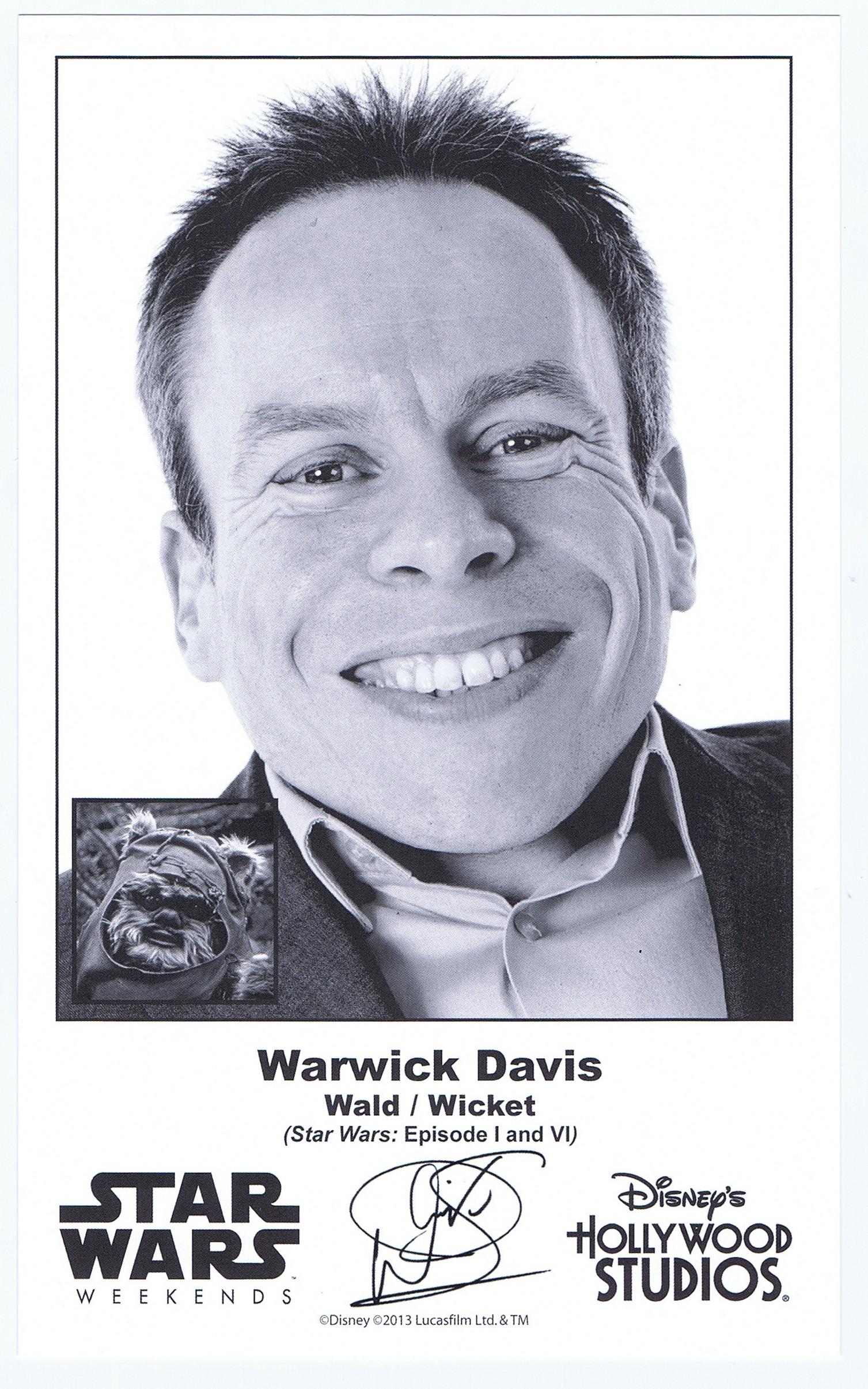 Warwick Davis who played The Ewok Wicket W. Warrick Presigned Official Star Wars Weekends 2013 Celebrity Collector Photo © Dizdude.com
