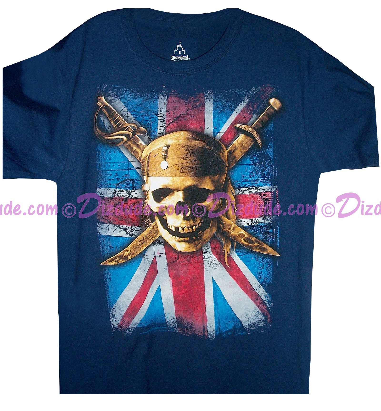 Disney Vintage Pirates of the Caribbean Union Jack and Skull and Cross Swords T-shirt (Tee, Tshirt or T shirt)