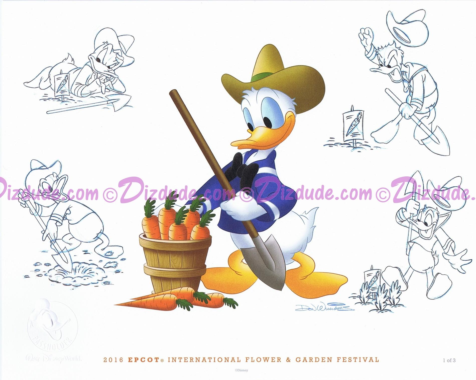"Donald Passholder Lithograph Poster by famous Disney Artist Don ""Ducky"" Williams (MARCH) - Disney Epcot International Flower & Garden Festival 2016 © Dizdude.com"