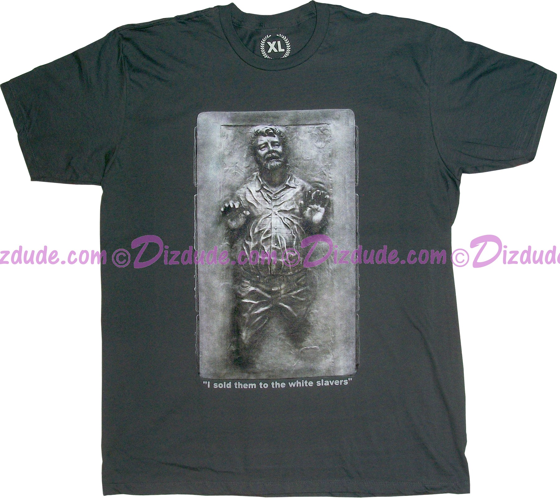 "Star Wars Yoda - Lucas in Carbonite With Text ""I sold them to the white slavers""Fantasy T-shirt (Tshirt, T shirt or Tee) © Dizdude.com"