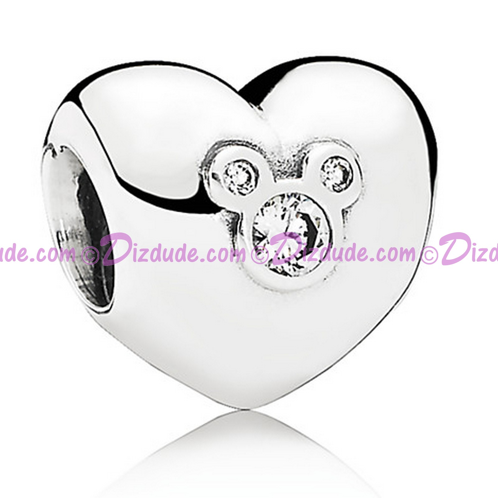"(SOLD OUT) Disney Pandora ""Heart of Mickey"" Sterling Silver Charm with Cubic Zirconias"