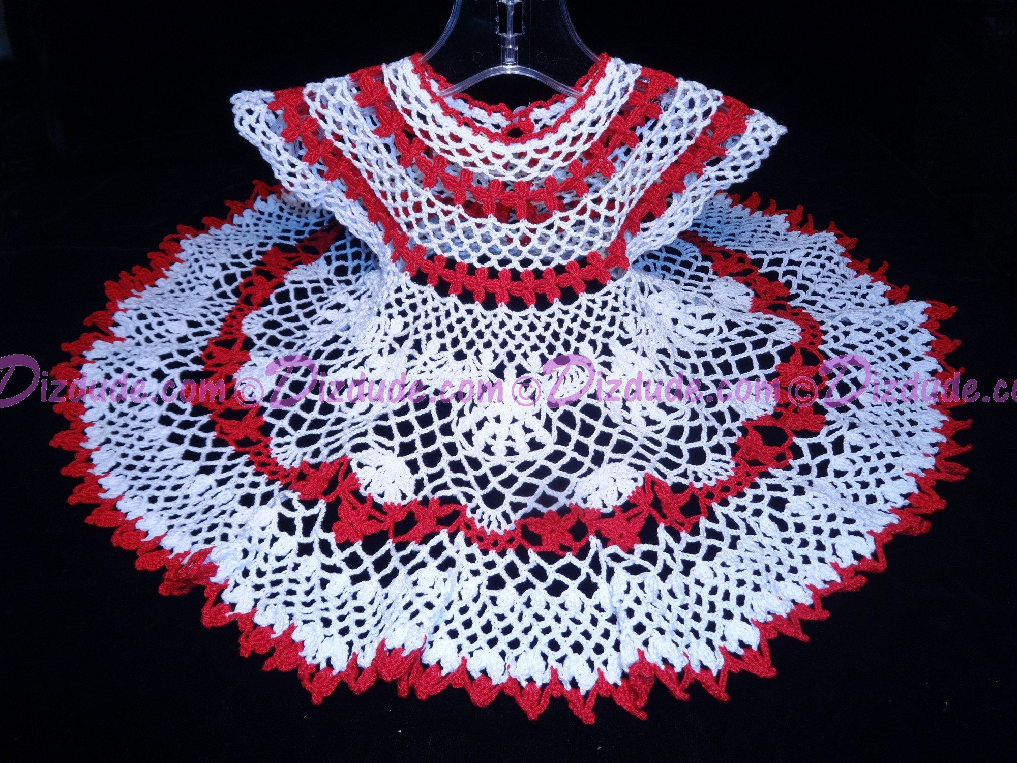Hand Made Crocheted Lace Baby Dress for Newborn 0-3 months - Christmas, Baptism or Christening - White and Red
