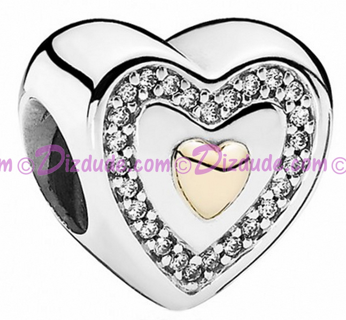 (SOLD OUT) Disney Pandora Always in My Heart Silver Charm with 14k gold heart & 26 Cubic Zirconias Limited Edition - Mothers Day Collection 2015