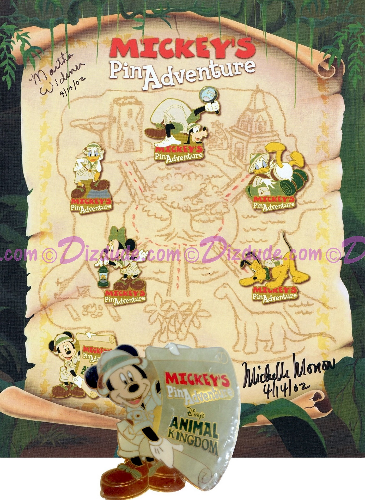 Autographed Walt Disney World Animal Kingdom - Mickey's Pin Adventure 2002 Pin-board with Mickey Mouse Completer Pin © Dizdude.com