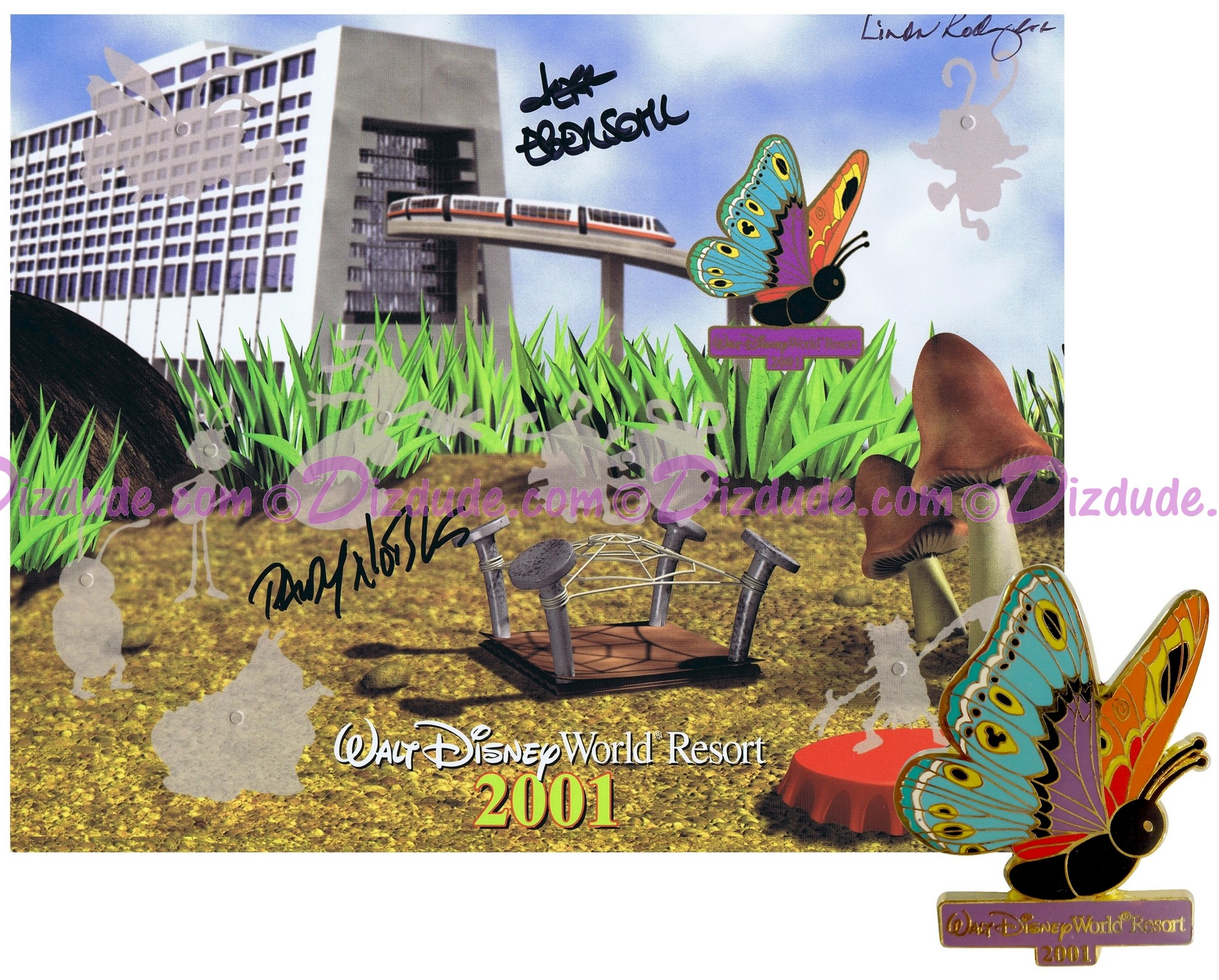 Autographed Walt Disney World Hunt for Pintopia Map Pin-Board 2001 with Contemporary Resort Butterfly Completer Pin Limited Edition 3000 © Dizdude.com