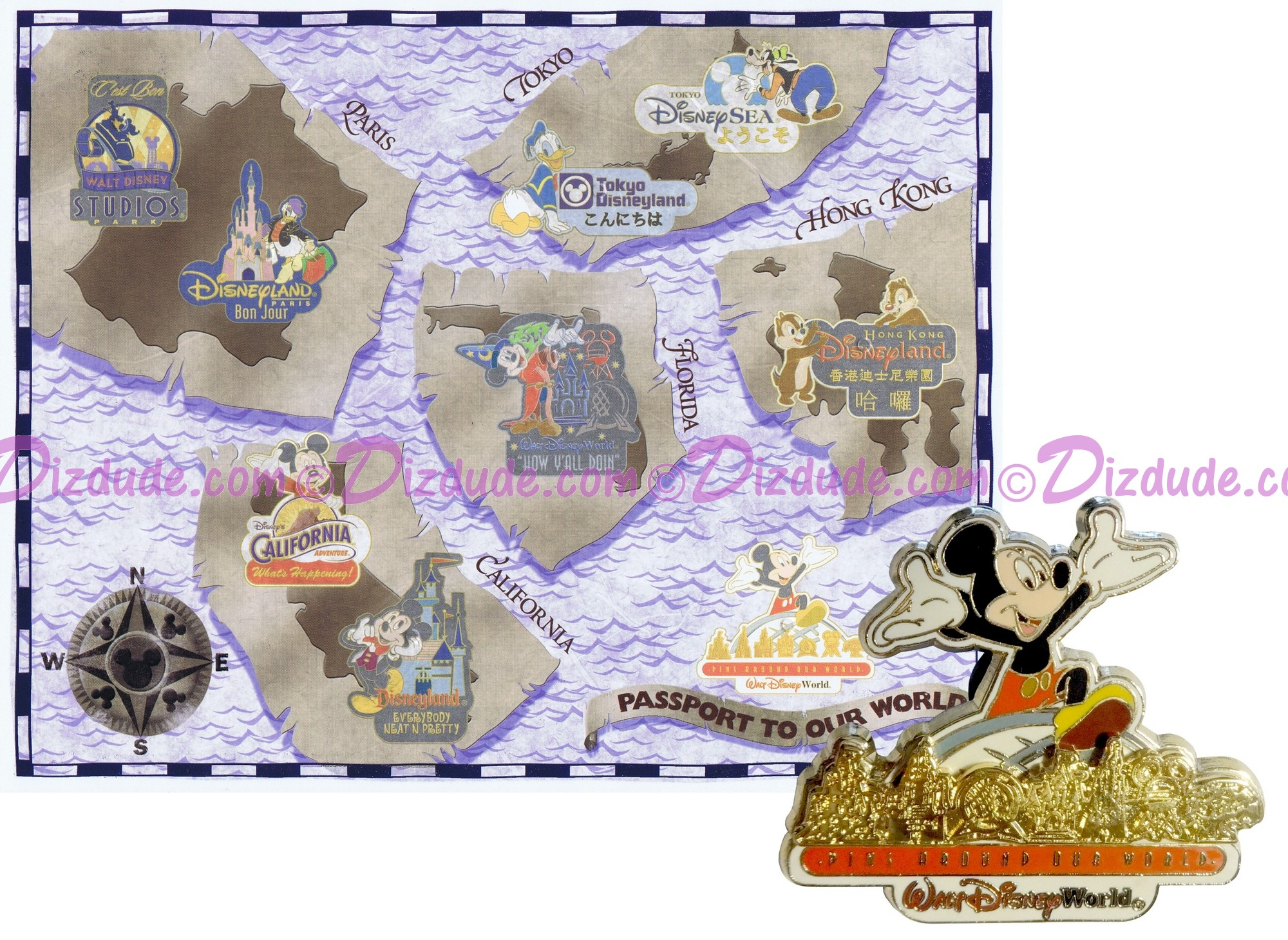 Walt Disney World Pin Pursuit - Passport to Our World Map Pin-Board 2001 with Mickey Mouse Completer Pin Limited Edition 5000 © Dizdude.com
