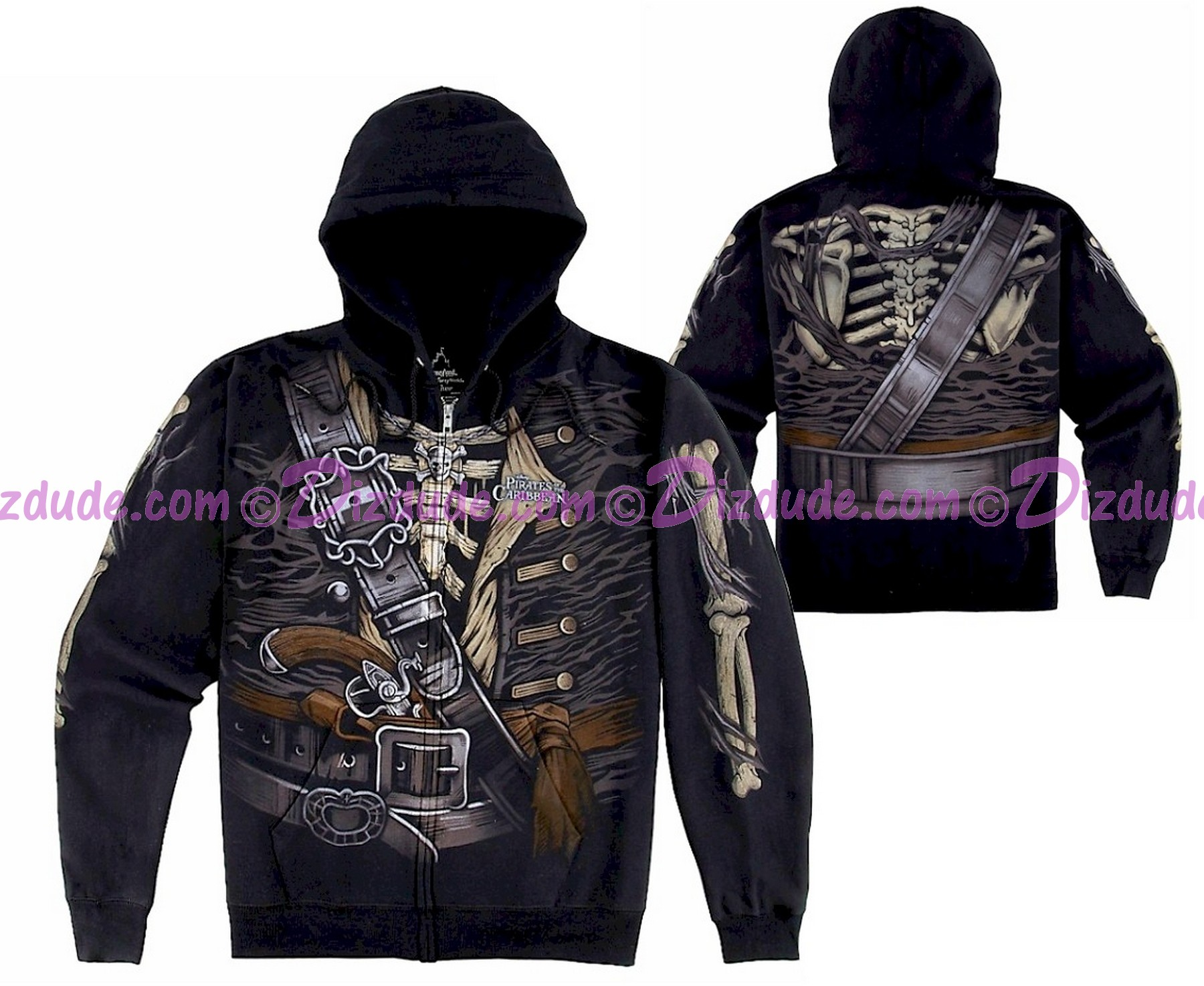 Disney's Pirates of the Caribbean - Pirate Skeleton Adult Hoodie (Printed Front, Back & Sleeves)
