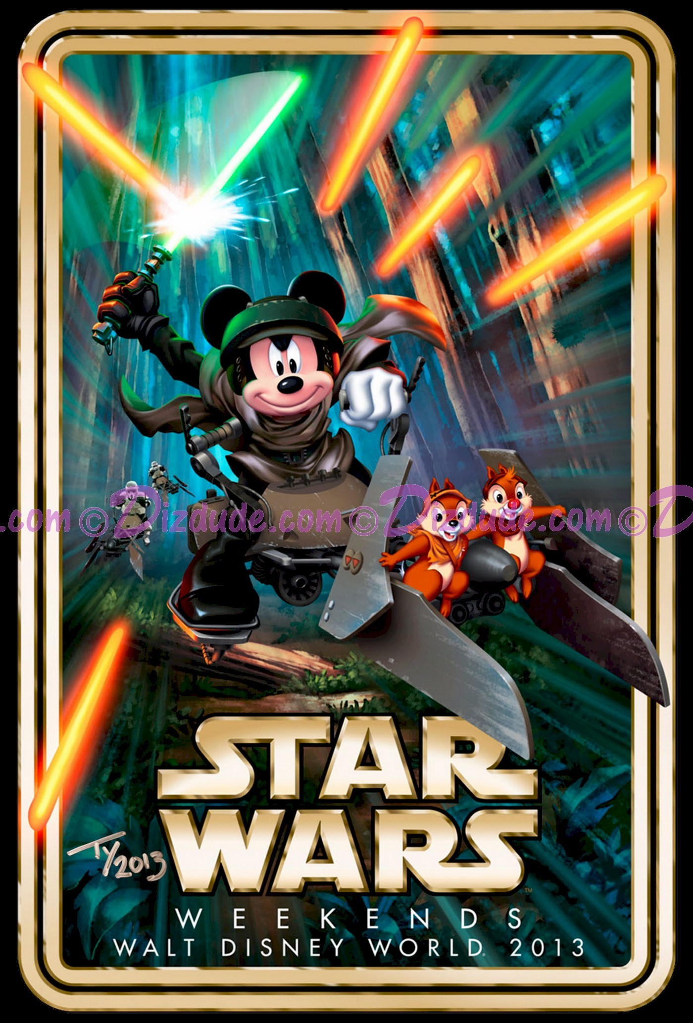 Autographed Exclusive Star Wars Weekends 2013 Event Logo Poster by Disney Artists Tyler Dumas © Dizdude.com