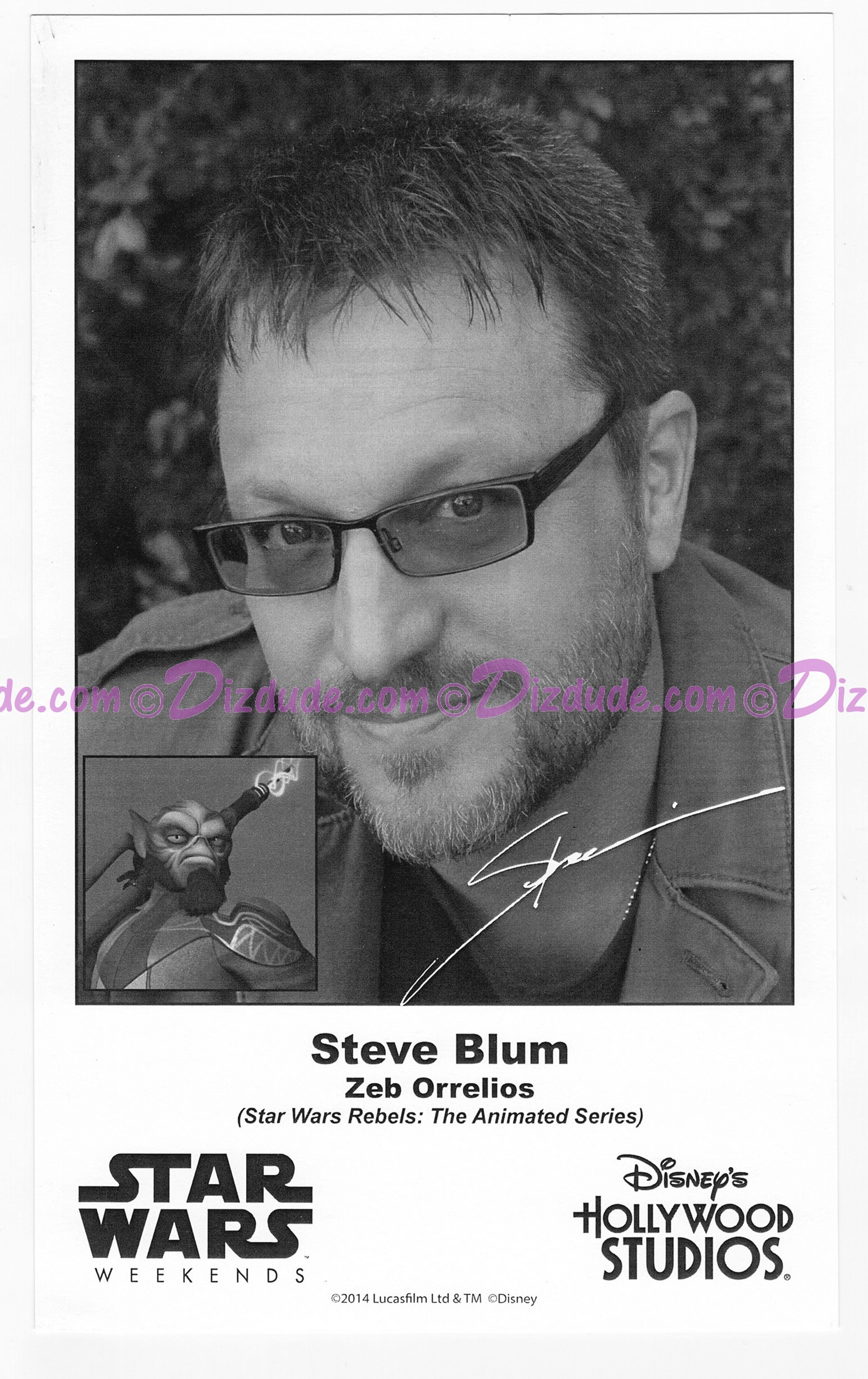 Steve Blum the voice of Garazeb ZEB Orrelios Presigned Official Star Wars Weekends 2014 Celebrity Collector Photo © Dizdude.com