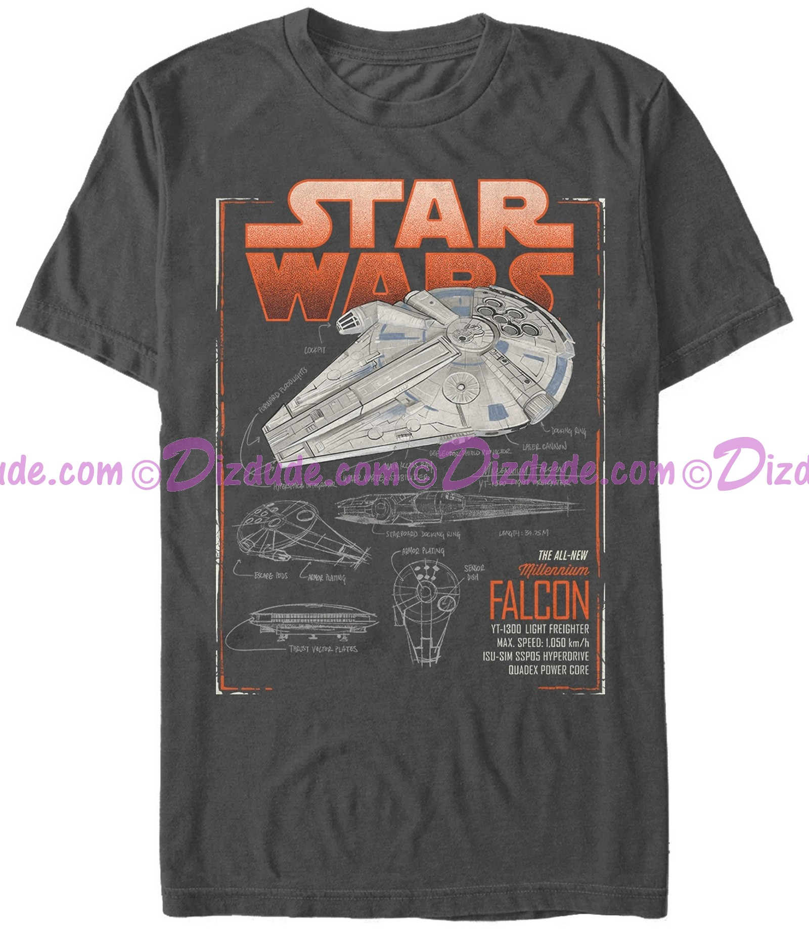 SOLO A Star Wars Story The Millennium Falcon Schematics Adult T-Shirt (Tshirt, T shirt or Tee)  © Dizdude.com