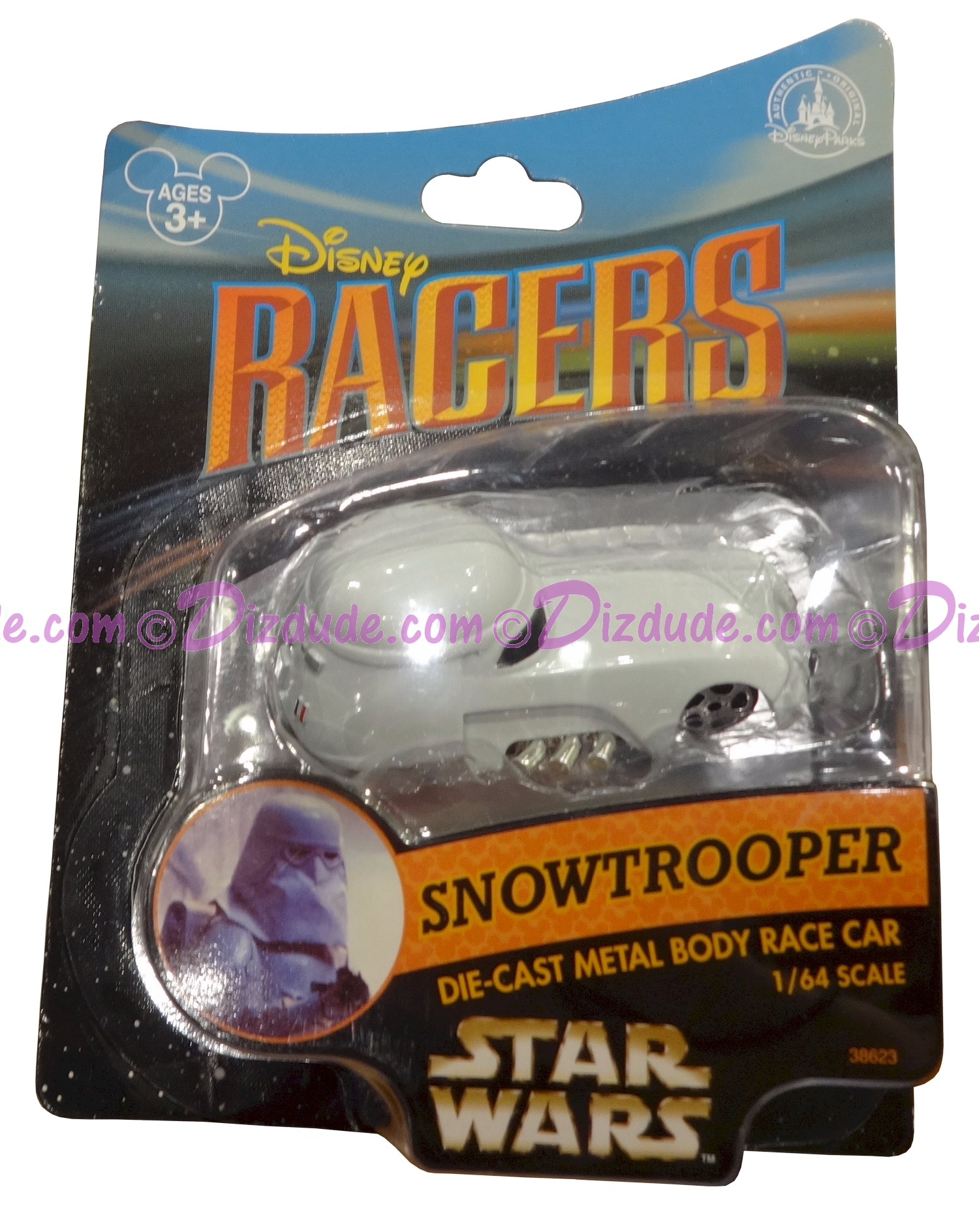 Star Tours Snowtrooper Disney Racer die cast metal body race car 1/64 scale © Dizdude.com