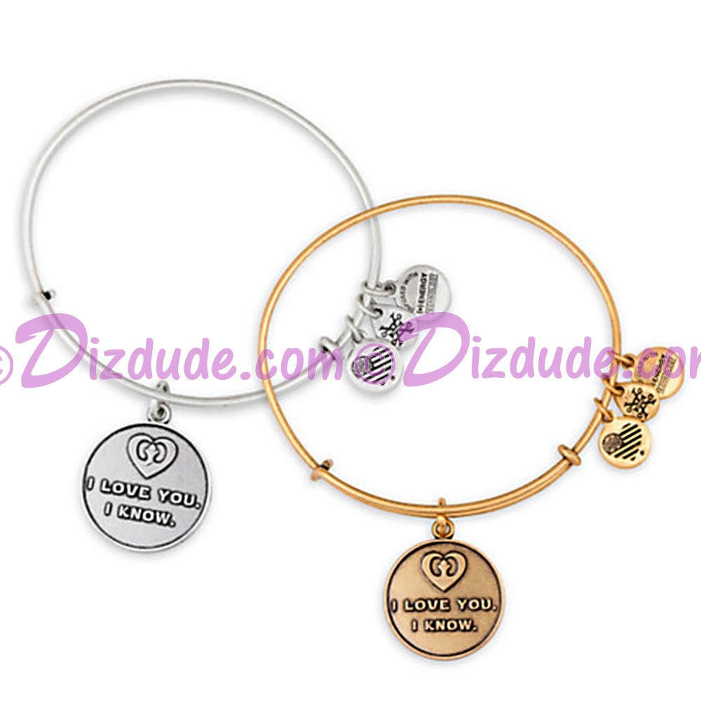 """(SOLD OUT) """"I Love You - I Know"""" Antiqued Rafaelian Gold or Silver Finished Star Wars Adjustable Charm Bangle - by Alex & Ani"""