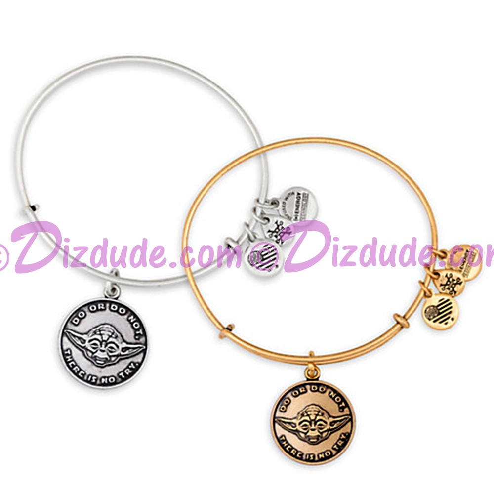 "Yoda ""DO OR DO NOT - THERE IS NO TRY"" Antiqued Rafaelian Gold or Silver Finished Star Wars Adjustable Charm Bangle - by Alex & Ani"