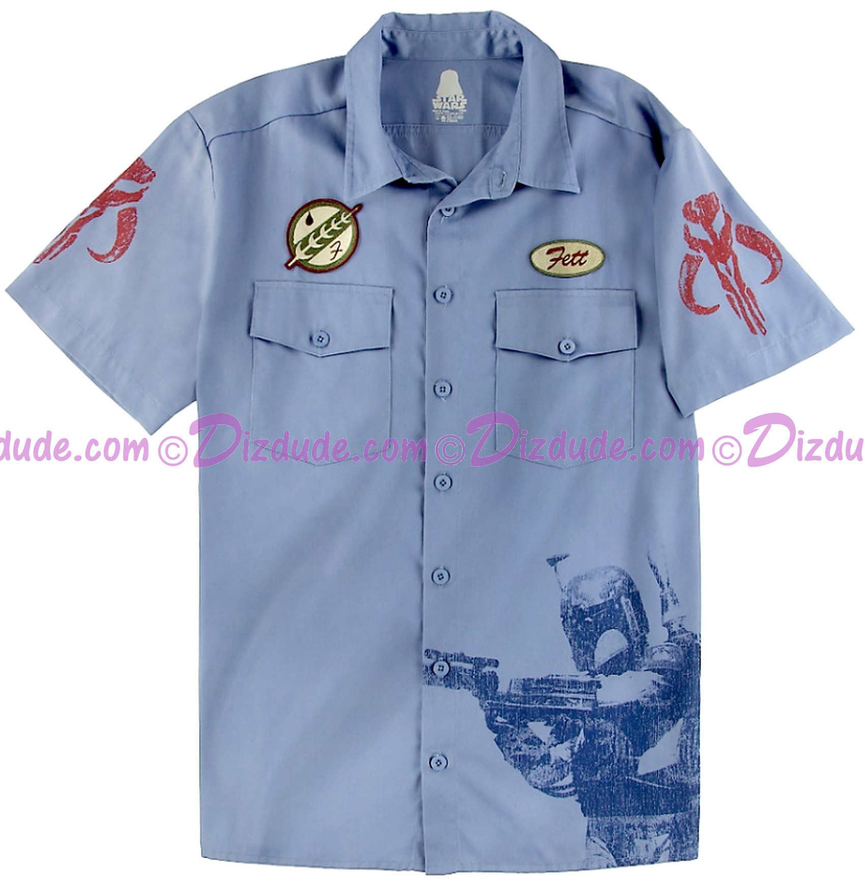Disney Star Wars Jango or Boba Fett Blue Collar Work Adult Shirt © Dizdude.com
