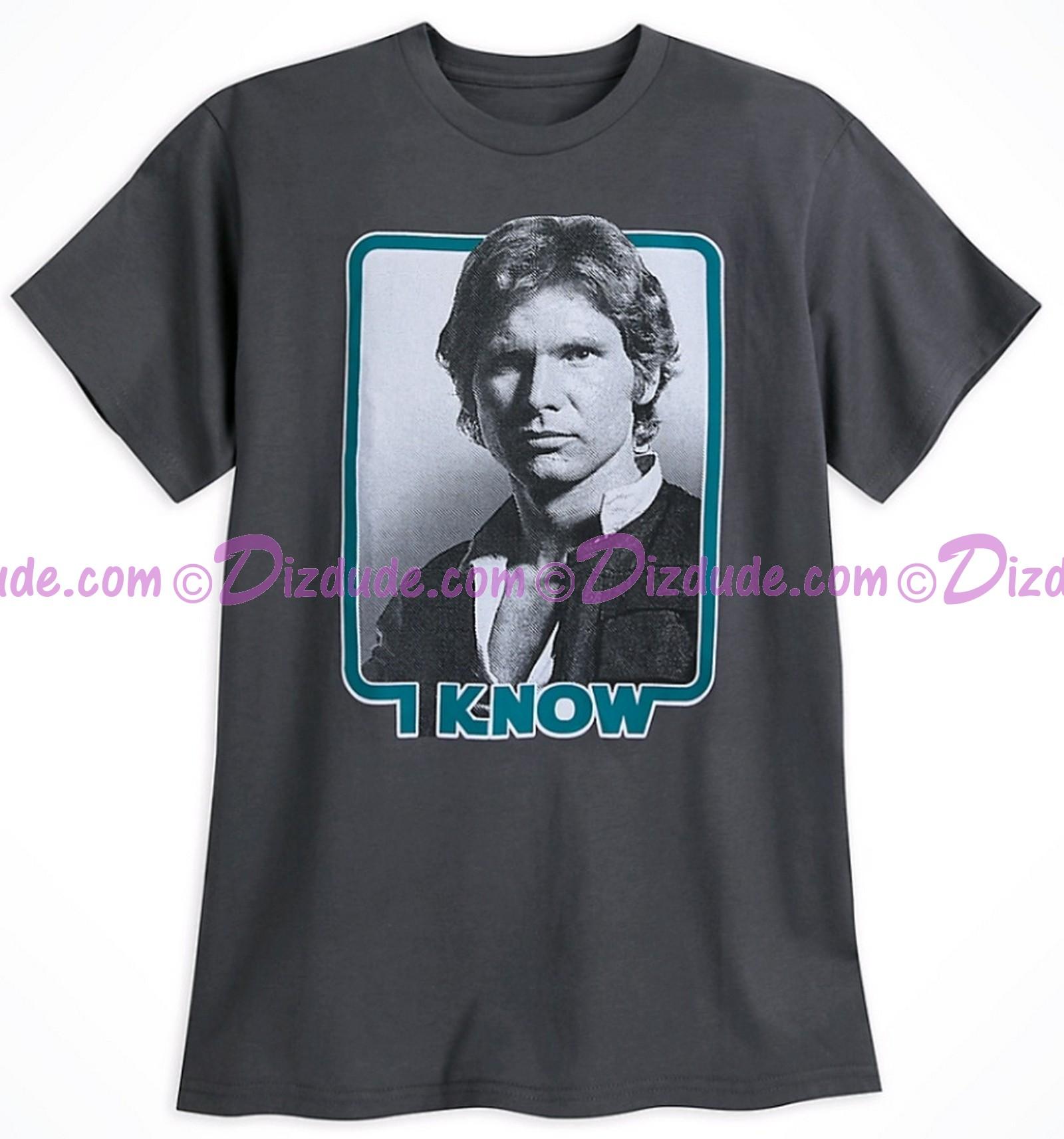 """Disney Star Wars Han Solo """"I Know"""" Adult T-Shirt (Tshirt, T shirt or Tee) © Dizdude.com"""