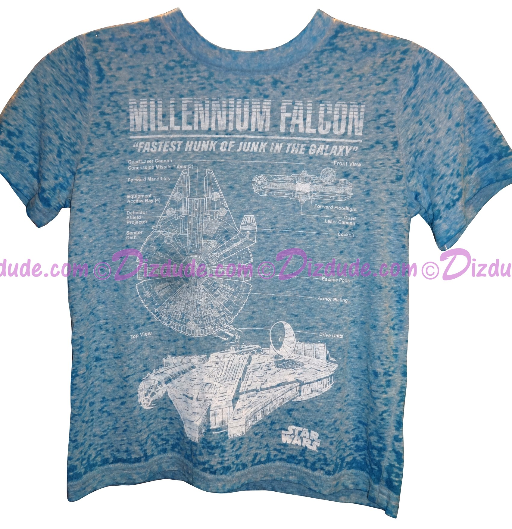 "Millennium Falcon ""Fastest Hunk of Junk in the Galaxy"" Youth T-Shirt (Tshirt, T shirt or Tee) - Disney's Star Wars © Dizdude.com"
