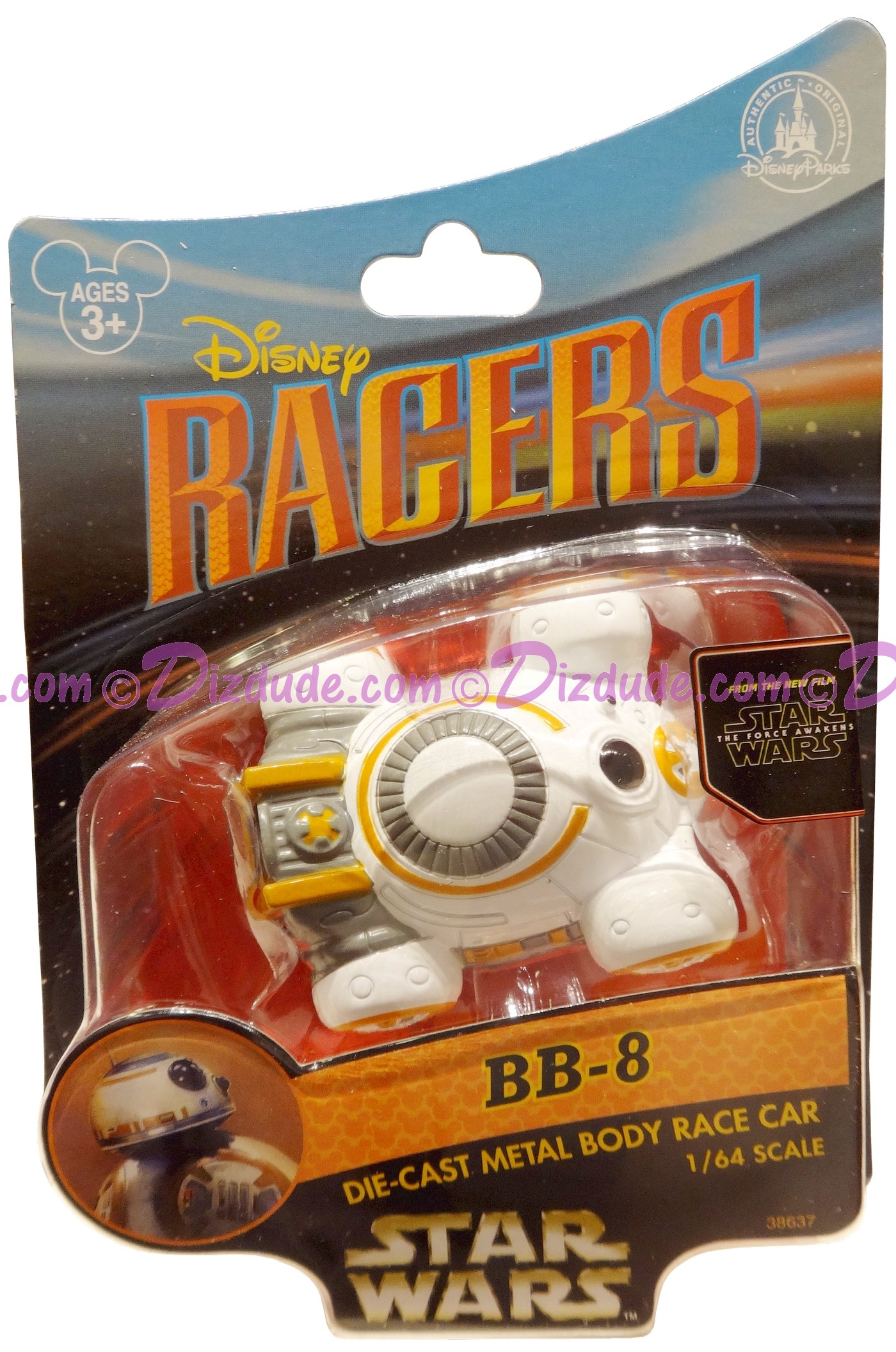 Star Wars The Force Awakens Disney Racer BB-8 die cast metal body race car 1/64 scale © Dizdude.com