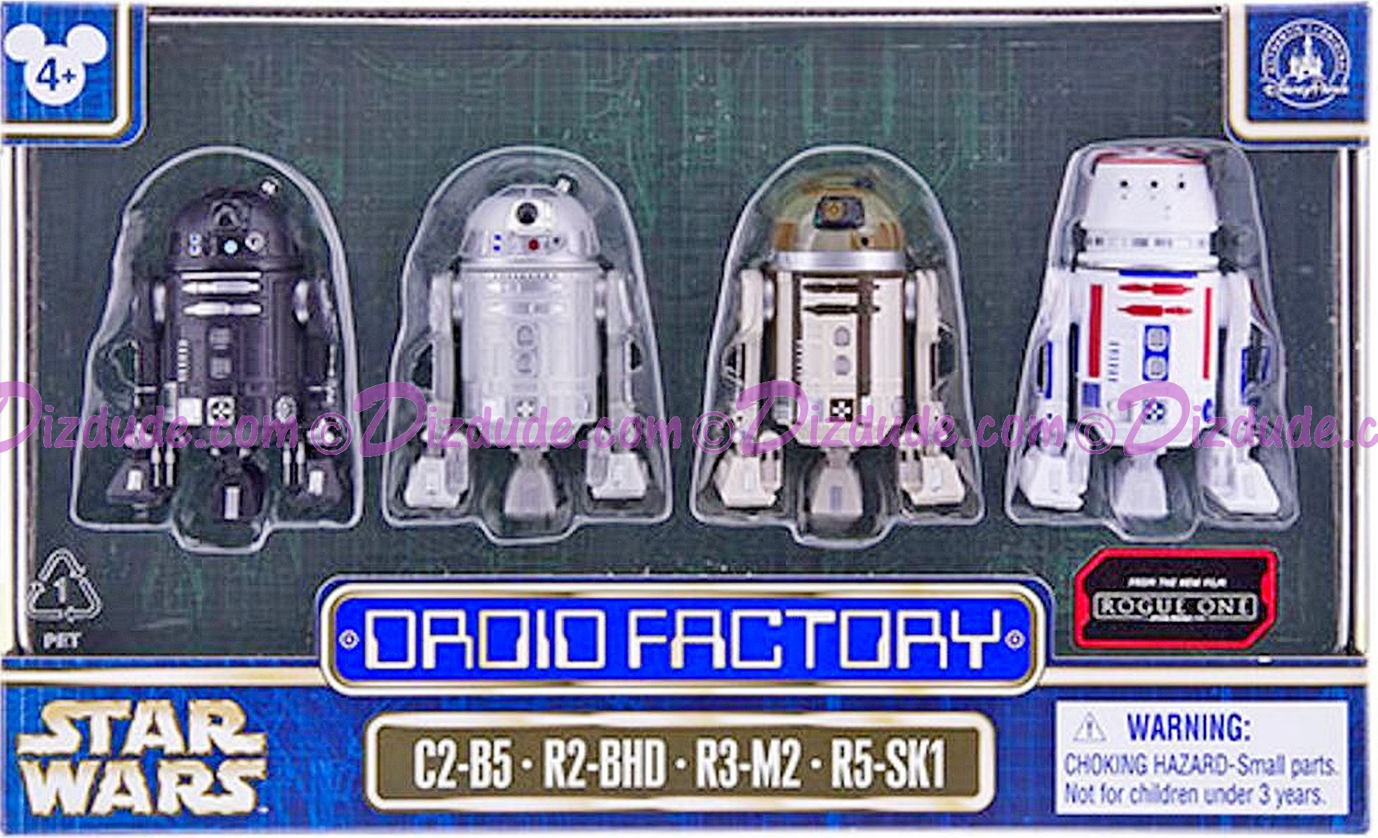 Star Wars Rogue One Set of 4 Astromech DROID FACTORY Series 2 Action Figures 3¾; Inch Multi Pack with C2-B5, R2-BHD, R3-M2 and R5-SK1 © Dizdude.com