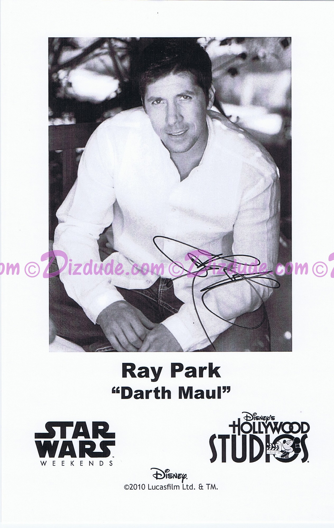 Ray Park who played Darth Maul Presigned Official Star Wars Weekends 2010 Celebrity Collector Photo © Dizdude.com