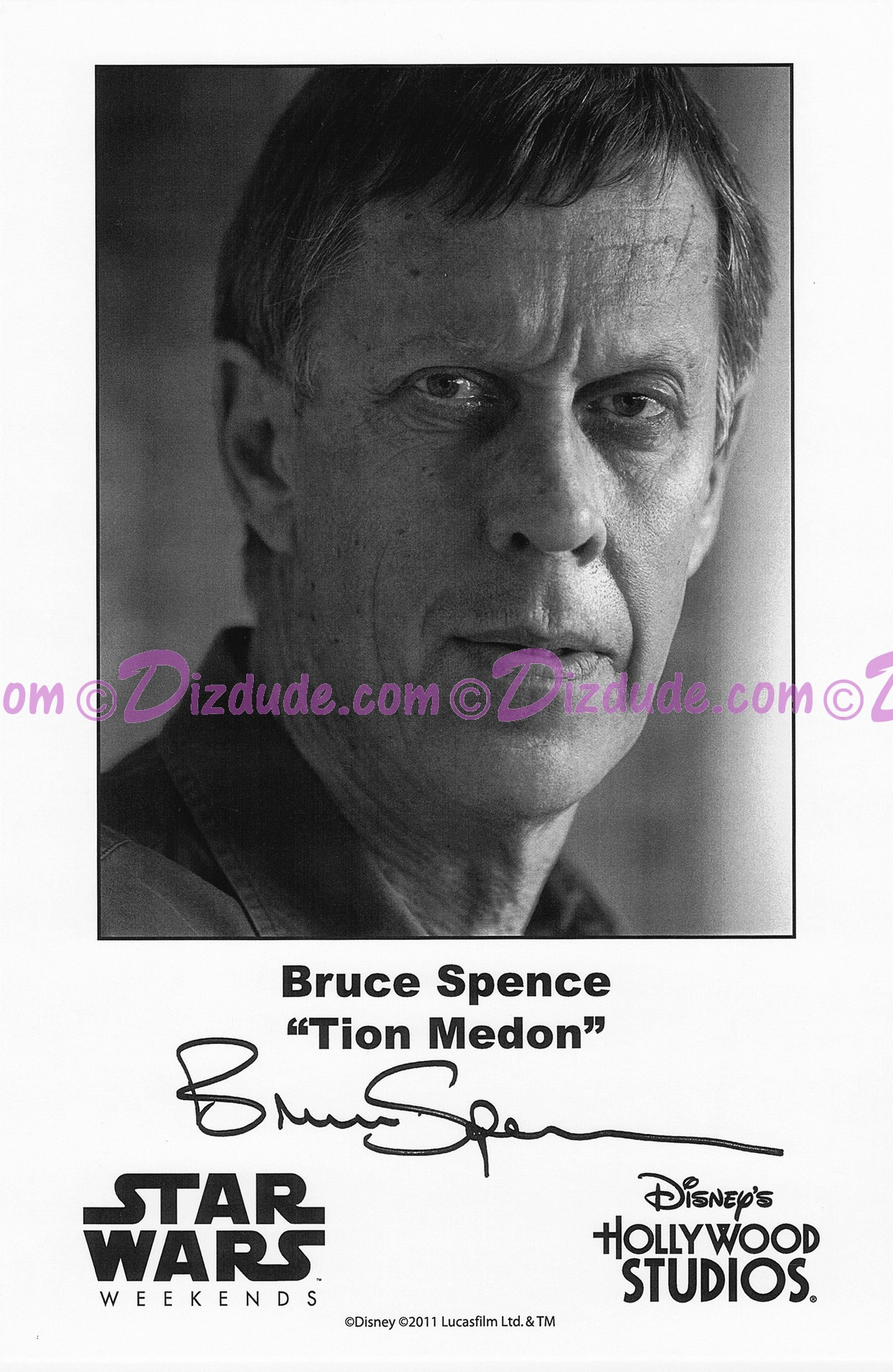 Bruce Spence who played Tion Medon Presigned Official Star Wars Weekends 2011 Celebrity Collector Photo © Dizdude.com
