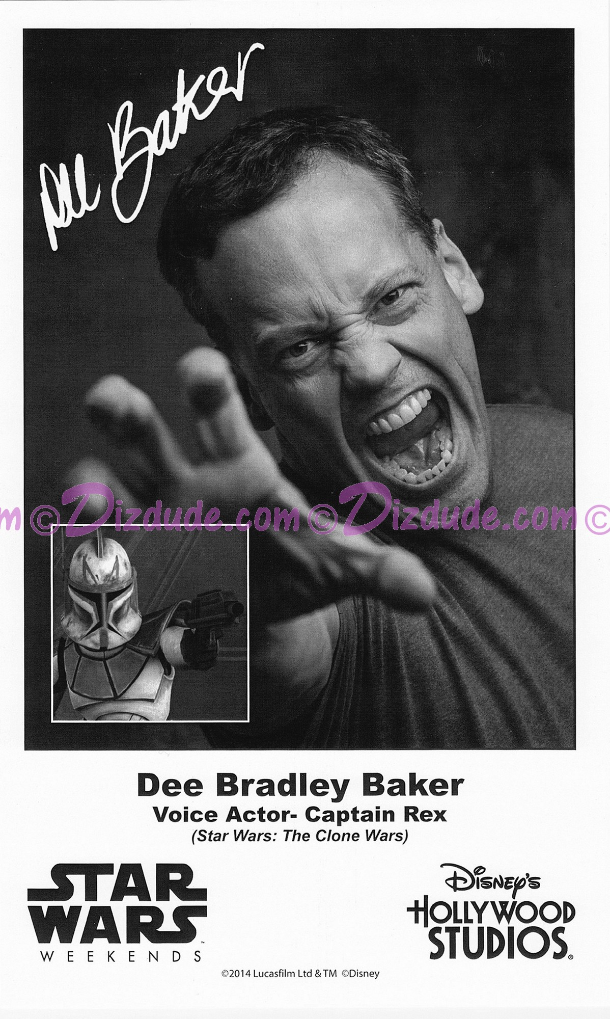 Dee Bradley Baker the voice of Captain Rex Presigned Official Star Wars Weekends 2014 Celebrity Collector Photo © Dizdude.com