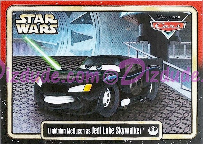 "Disney Pixar ""Cars"" as LucasFilms ""Star Wars"" Character Lightning McQueen as Jedi Luke Skywalker Trading Card Series 3 for Star Wars Weekends 2015 © Dizdude.com"