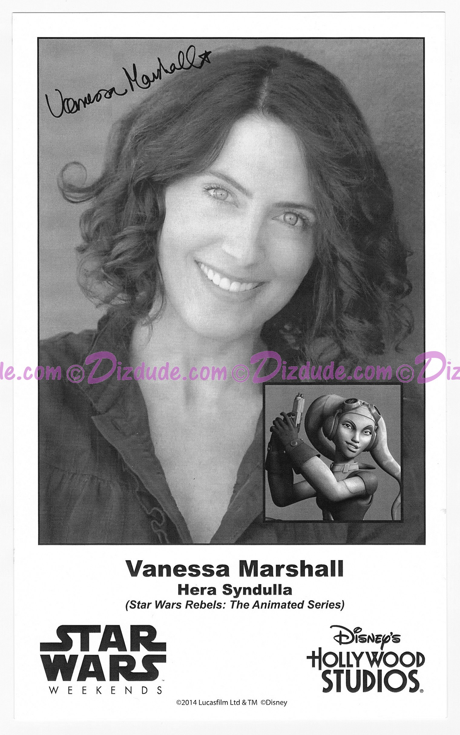 Vanessa Marshall the voice of Hera Syndulla Presigned Official Star Wars Weekends 2014 Celebrity Collector Photo © Dizdude.com