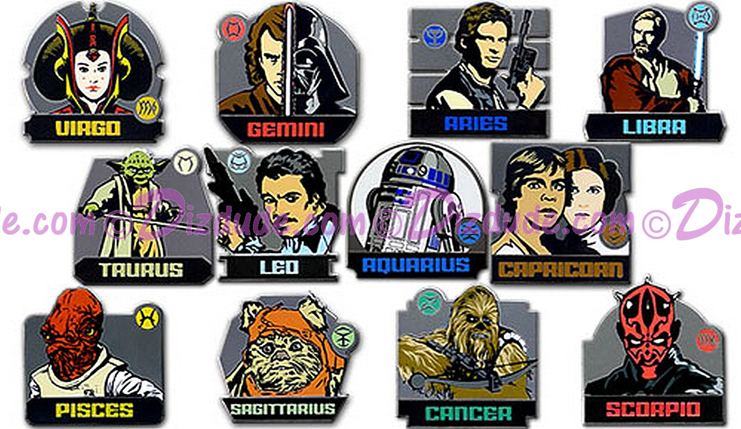 Disney Star Wars Weekends 2013 Signs of the Zodiac Mystery Box  ~  All of 12 Pins together ~ Limited Edition 6000 © Dizdude.com
