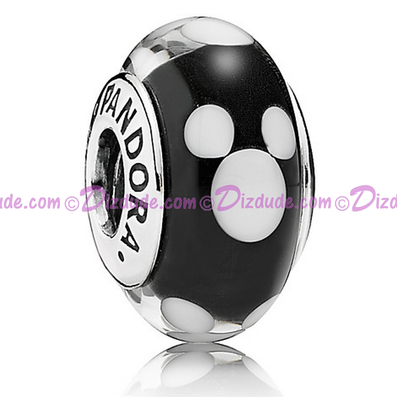 "Disney Pandora ""Classic Mickey"" Sterling Charm with Black and White Murano Glass"