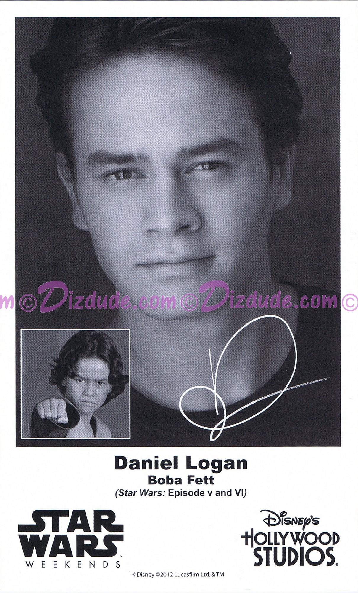 Daniel Logan who played Young Boba Fett Presigned Official Star Wars Weekends 2012 Celebrity Collector Photo