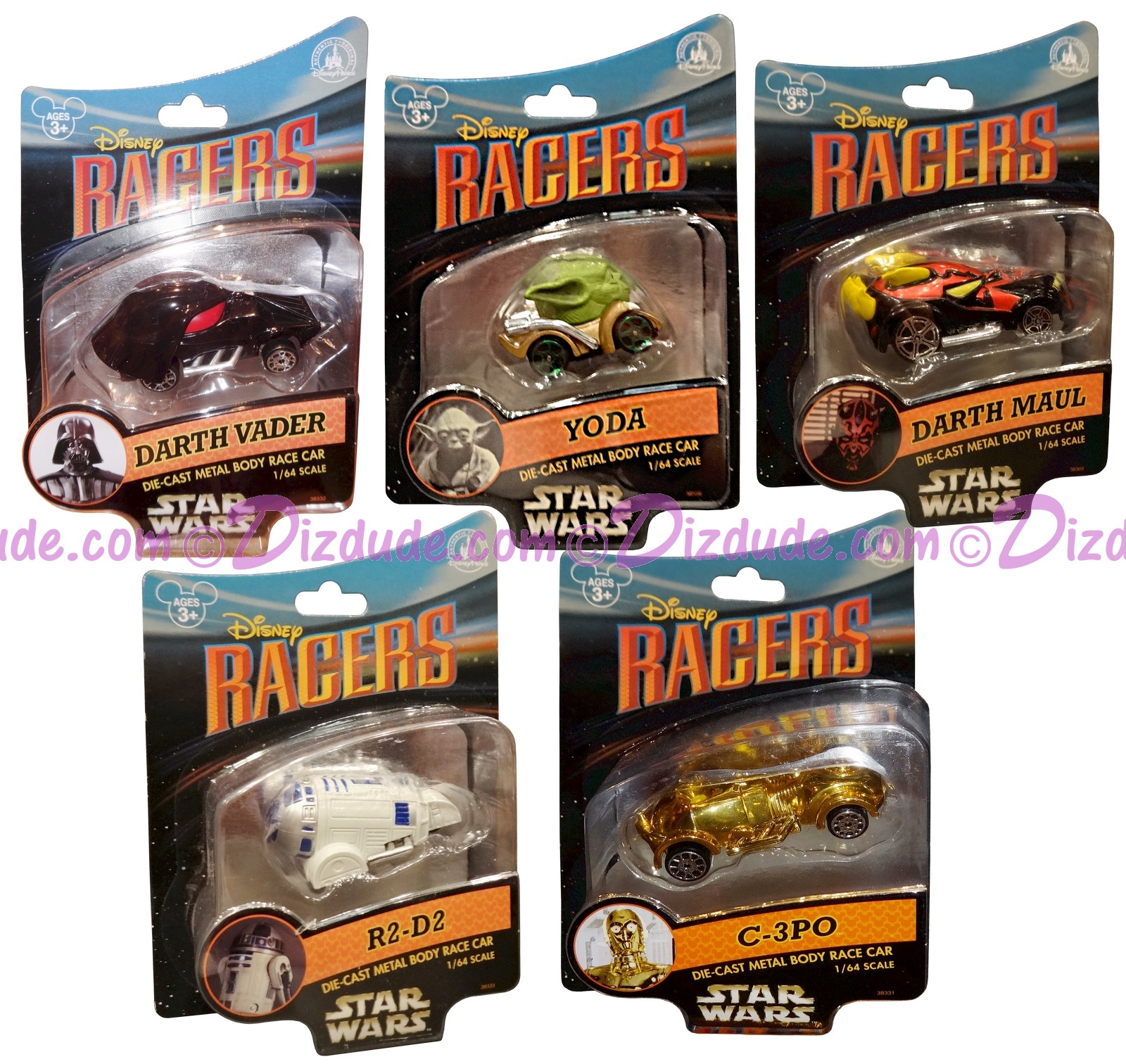 Star Tours Disney Racers Set of 5 with Darth Vader • Darth Maul • Yoda •  C-3PO and R2-D2 - Star Wars Weekends 2014