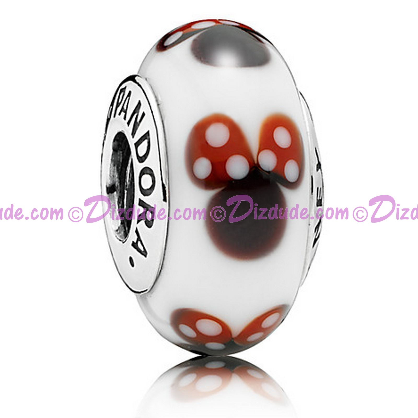 "Disney Pandora ""Classic Minnie"" Sterling Charm with Murano Glass"