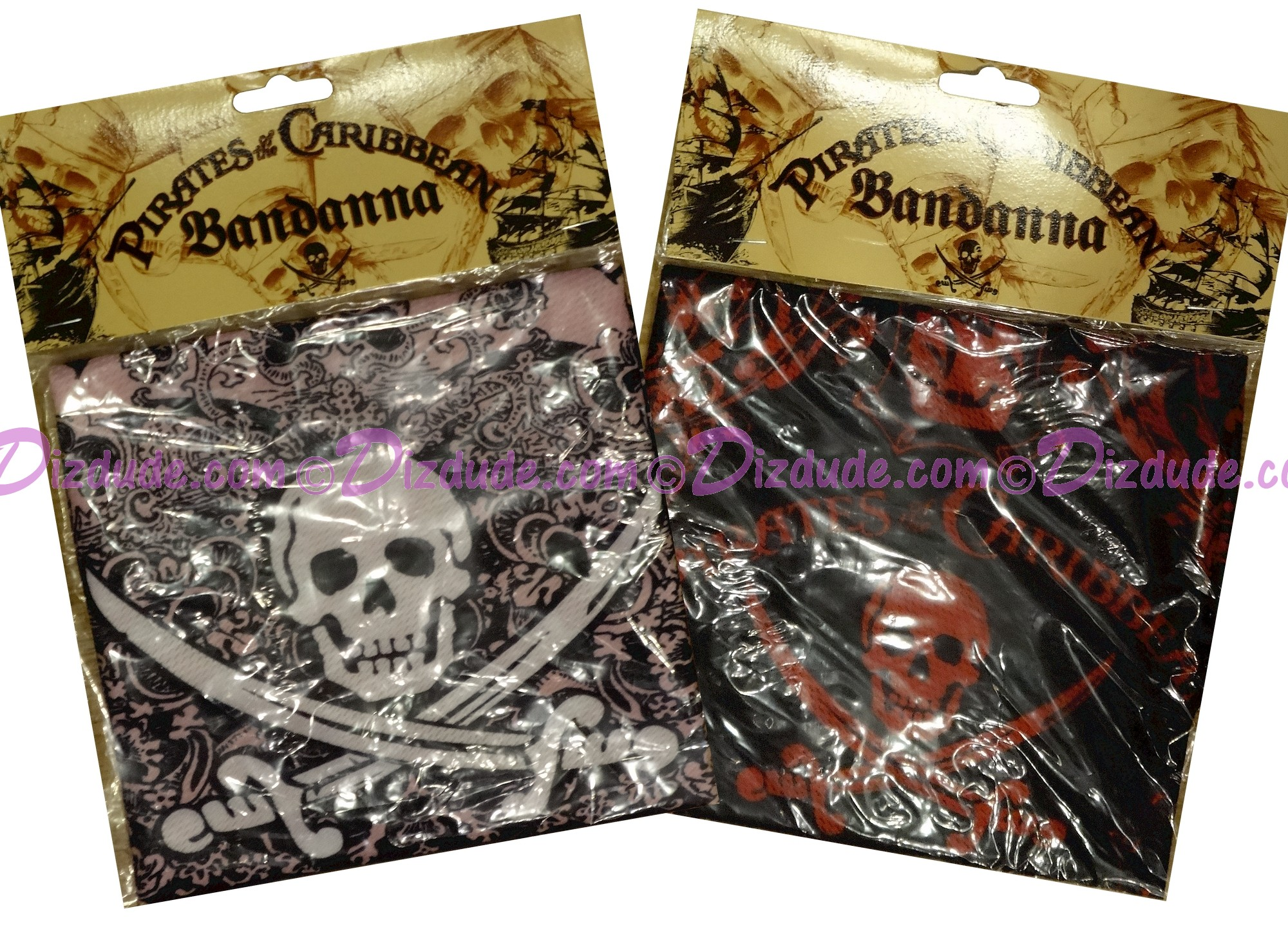 Disneys Pirates of the Caribbean Bandanas in Red or Pink