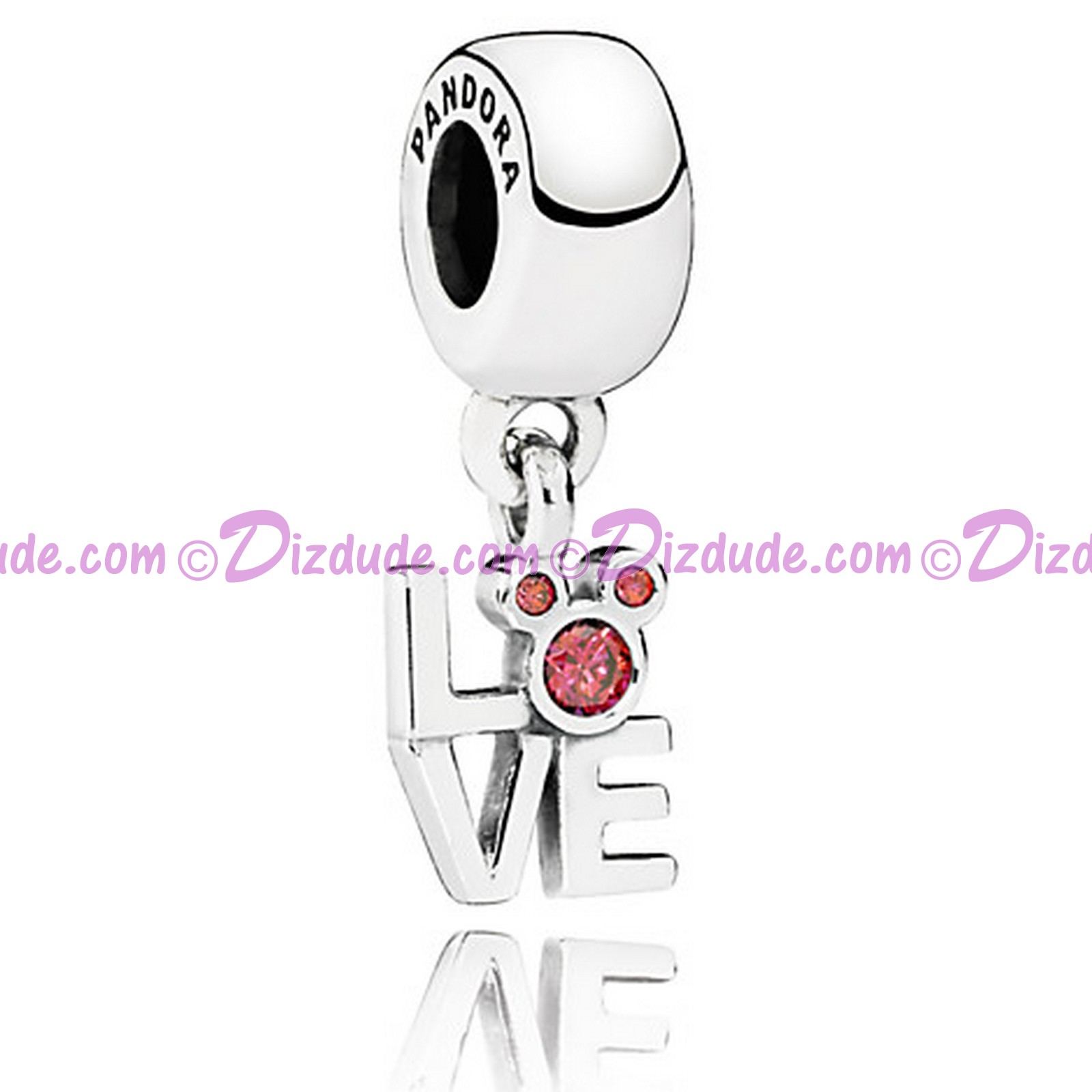 "Disney Pandora ""Love Mickey"" Sterling Silver Charm with Cubic Zirconias"