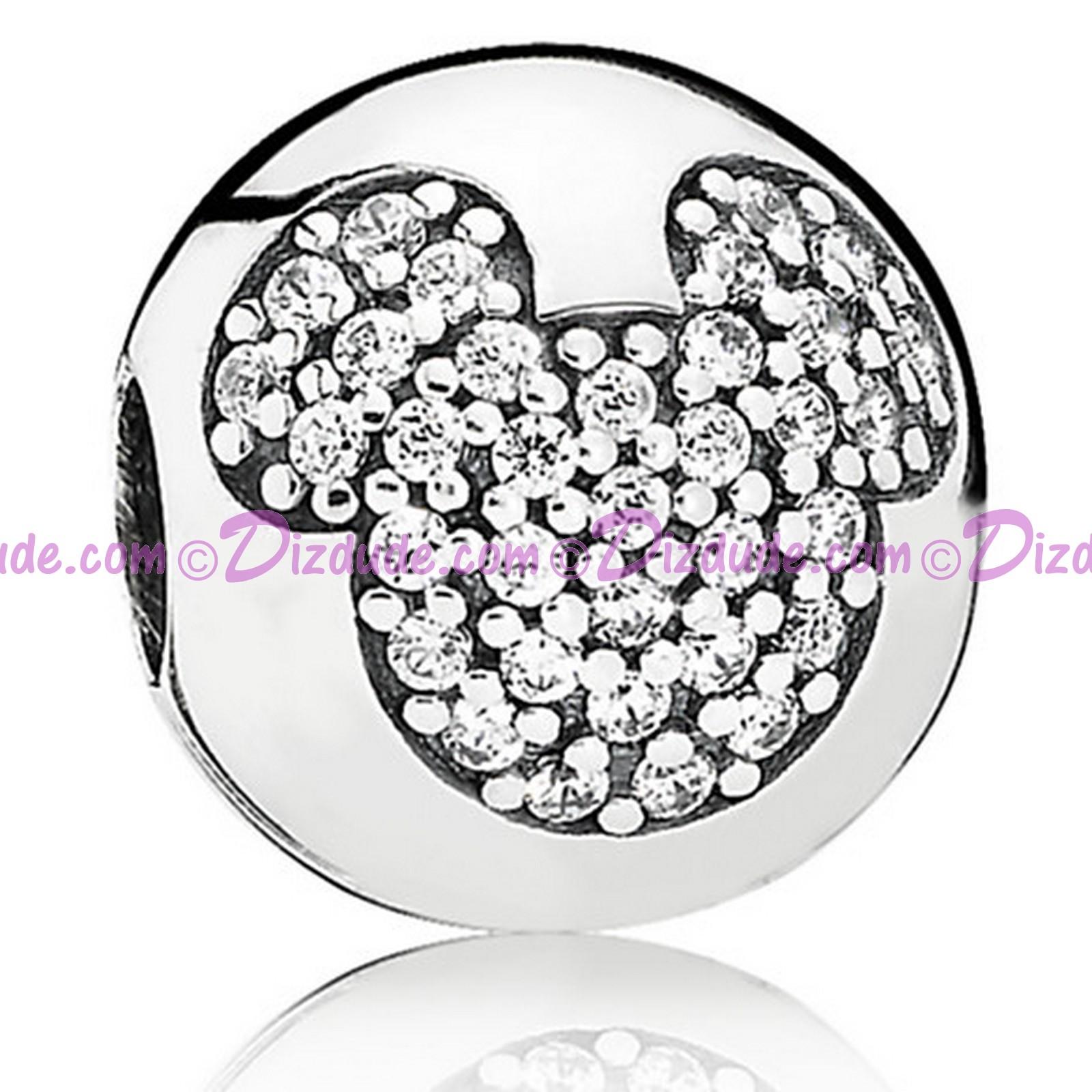 """Disney Pandora """"Mickey Pavé Clip"""" Sterling Silver Charm"""