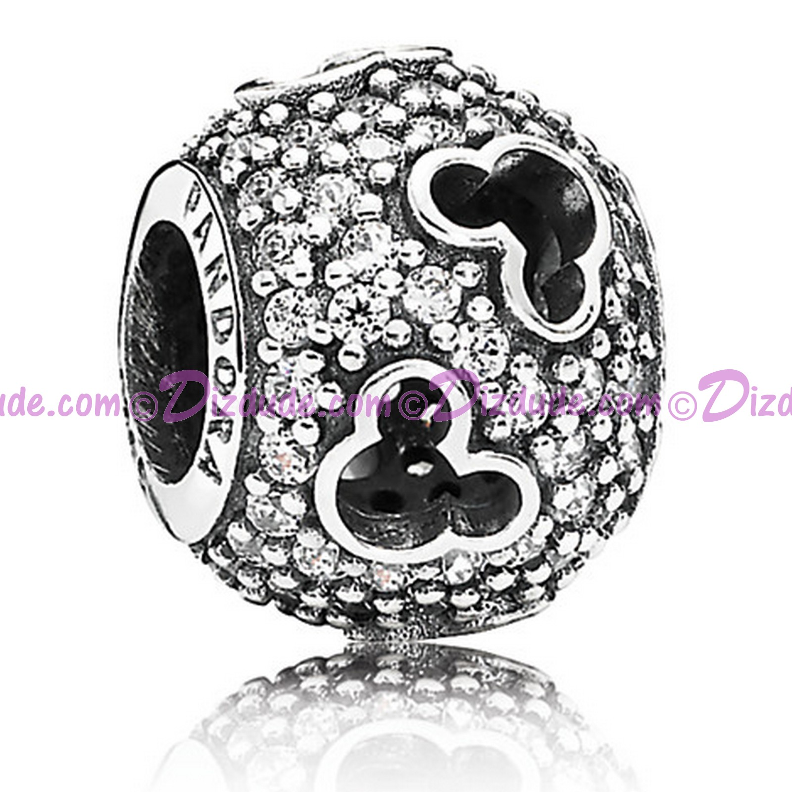"Disney Pandora ""Mickey Silhouettes"" Sterling Charm with Cubic Zirconias"