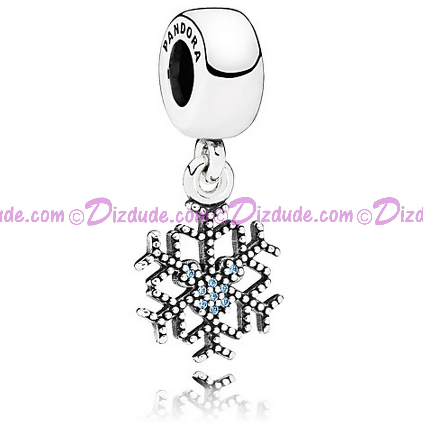 "Disney Pandora ""Mickey's Sparkling Snowflake"" Sterling Silver Charm with Cubic Zirconias"
