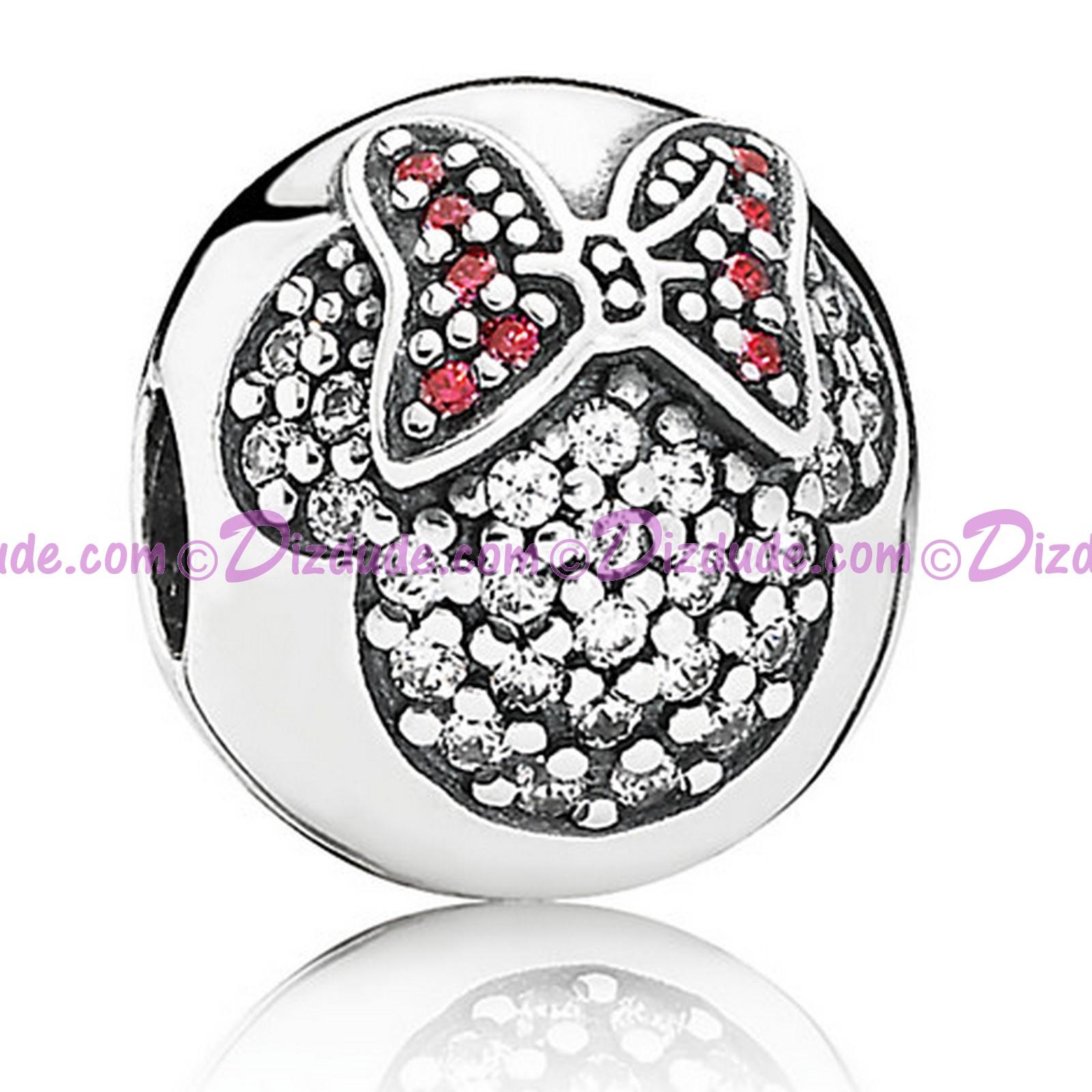 """Disney Pandora """"Minnie Pavé Clip"""" Sterling Silver Charm"""