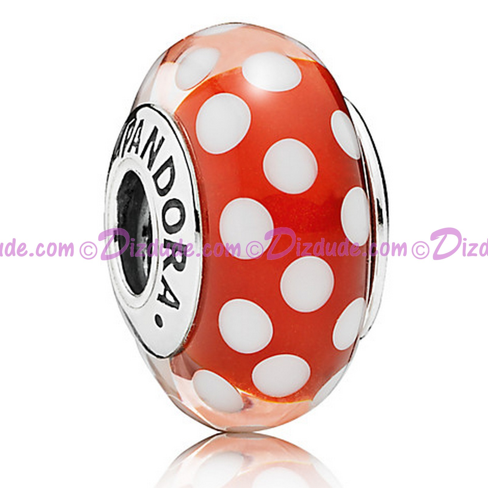 "Disney Pandora ""Minnie's Signature Look"" Sterling Charm with Red and White Murano Glass"