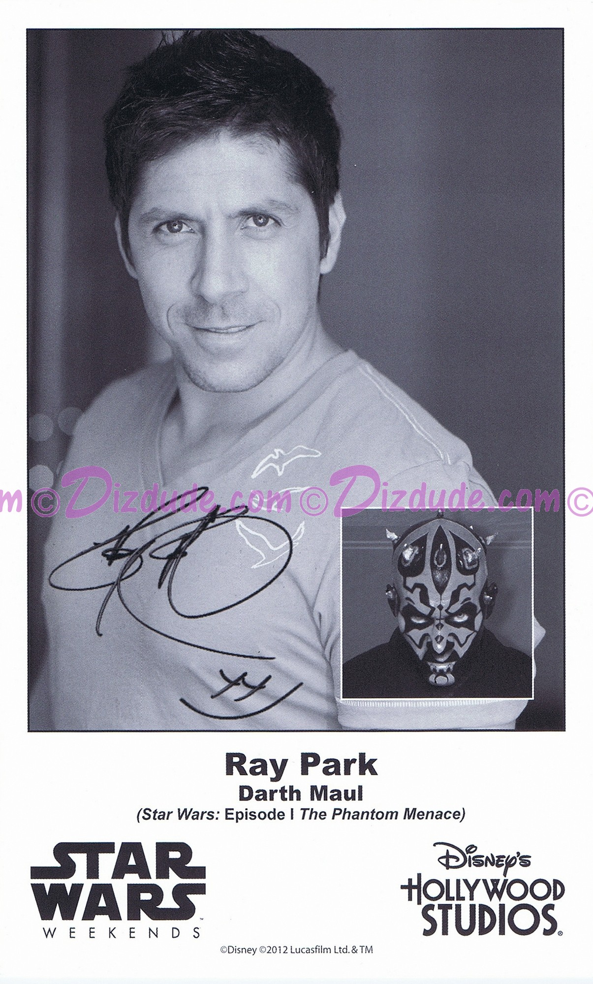 Ray Park who played Darth Maul Presigned Official Star Wars Weekends 2012 Celebrity Collector Photo